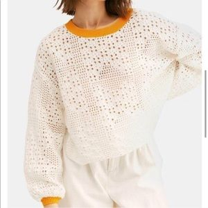 Free People Home Run cropped knit sweater crochet
